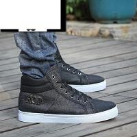 时尚英伦新款高帮男式休闲帆布鞋经典水洗帆布鞋透气运动男鞋街头