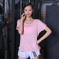 运动上衣女短袖T恤宽松速干透气圆领健身衣跑步罩衫瑜伽服半袖