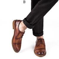 新品男鞋2017春季男士皮鞋圆头系带布洛克英雕花伦男鞋透气低跟皮鞋男潮