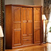 实木衣柜简约现代中式衣橱组装4门整体对开拉门大衣柜卧室家具 4门