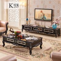欧式茶几大理石面美式茶几电视柜组合实木雕花轻奢色描金茶几 组装