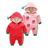 婴儿连体衣服冬季宝宝红色加绒3哈衣6新生儿9宝宝5冬天外出服01岁