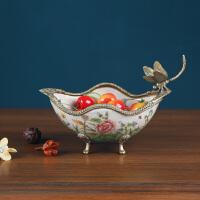 欧式创意果盘现代家居客厅家用陶瓷玄关饰品小干果盘钥匙收纳摆件