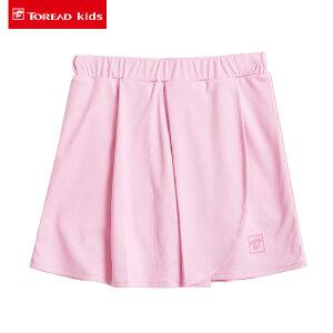 探路者童装 2017夏季新款女童半身裙拼接中大童儿童户外运动短裙