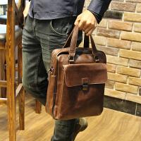 12新款男包单肩包男斜挎包公文包休闲男士背包挎包皮包商务疯马皮手提包 全场满2件送手包