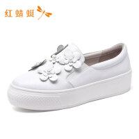 红蜻蜓女鞋春季新款女鞋时尚珍珠花朵装饰低跟舒适一脚蹬女休闲鞋-