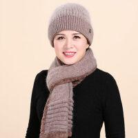 中老年女士围巾套帽 新款女士老年人帽子 奶奶保暖毛线帽 围巾兔毛针织帽
