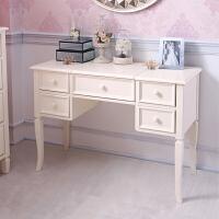 松木实木家具欧式实木梳妆台梳妆镜储物桌女王范浪漫象牙白 白色 组装