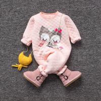 婴儿连体衣服冬季0岁3个月宝宝6冬装衣服新生儿加厚外出服
