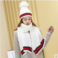 大毛球撞色条纹套头毛线针织帽子围巾保暖女士围巾帽子两件套