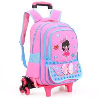 新款韩版六轮拉杆书包3-6年级小学生女童可拆卸书包儿童双肩包