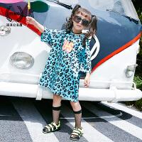 女童t恤2017夏装新款童装韩版儿童糖果色豹纹字母长款短袖打底衫