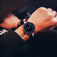 情侣表石英表男表布带简约手表女学生韩版简约防水休闲帆布手表