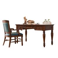 美式实木书桌纯实木书房家具套装组合书法桌三抽写字台学习书桌 +书椅 否