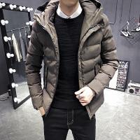 男士短款棉衣冬装棉袄韩版连帽羽绒棉服男青少年帅气修身加厚外套