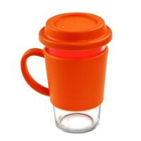 三光云彩Glasslock 500ml乐扣有柄钢化玻璃水杯带盖杯办公茶杯RC106 橙黄色