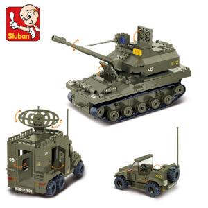 【当当自营】小鲁班陆军部队2军事系列儿童益智拼装积木玩具 精锐装甲师M38-B0308