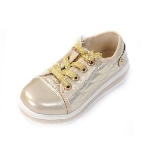 鞋柜SHOEBOX春季新款女童鞋时尚金女孩休闲鞋童鞋