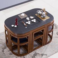 火烧石功夫茶桌椅组合现代中式小户型实木大理石茶几办公室泡茶台 组装