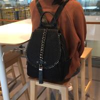 真皮双肩包女韩版新款潮百搭时尚链条羊皮软皮多功能两用背包