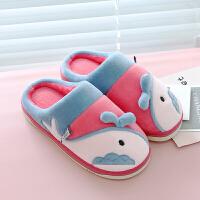 棉拖鞋女冬季包跟可爱情侣子厚底保暖家居用室内男韩版月子