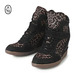 ASH艾熙 BRENDY高帮真皮休闲坡跟豹纹内增高潮女鞋女靴子102406