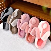 新款防滑保暖情侣拖鞋 居家用毛毛男士棉拖鞋 韩版室内卡通家居毛绒棉拖鞋女