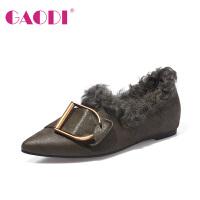 高蒂懒人鞋女加绒保暖冬季新款牛皮羊卷毛拼接韩版一脚蹬深口棉鞋