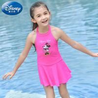 迪士尼 新款女童泳衣夏季米妮儿童泳装公主裙式女孩连体防晒游泳衣