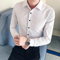 新款男士长袖衬衫韩版修身百搭衬衣男时尚帅气英伦潮流休闲寸衫男