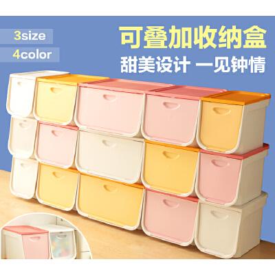 爱丽思IRIS 塑料整理箱前开式彩色盖衣物收纳箱 可折叠收纳盒