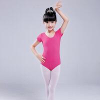儿童舞蹈服装女童练功服演出服短袖芭蕾舞裙棉健美操连体紧身衣 6020玫红色 裤装短袖