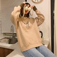 卫衣 女士时尚高领加绒卫衣2019冬季女式韩版复古字母针织衫学生宽松棉衣