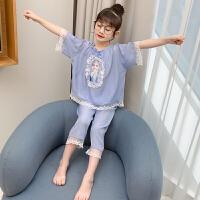 女童睡衣夏季洋气薄款中大童家居服两件套小女孩冰丝套装