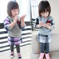 *儿童装女童加绒加厚卫衣套装2018春冬装新款韩版衣服