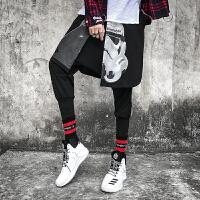 假两件裤子 高街暗黑个性潮流哈伦裤男士发型师涂鸦印花连体裙裤