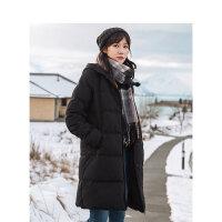 茵曼冬季新款时尚个性纯色连帽羽绒服女中长款显瘦修身气质潮【1894121573】