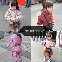 史豌豆定制女童冬装外套兔耳朵刺绣加绒加厚保暖儿童宝宝连帽卫衣