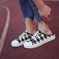 学生低帮方格防水台平底运动拖鞋女休闲外穿半包头拖鞋女鞋
