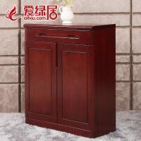 现代中式水曲柳家具 实木新中式家具鞋柜玄关储物柜 琥珀红