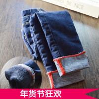 女童牛仔裤 加绒加厚 2017冬季新款儿童韩版修身铅笔裤外穿小脚裤