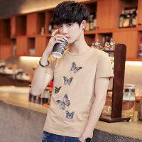 韩版男士圆领短袖刺绣T恤新款男装潮牌打底衫t体恤小清新上衣