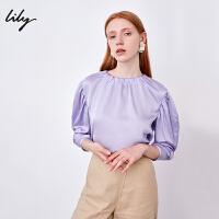 【不打烊价:134.7元】 Lily春新款女装淡紫色后纽扣宽松圆领雪纺衫118300C8674