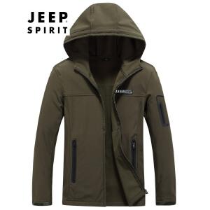 AFS JEEP战地吉普 男士户外速干冲锋衣 快干夹克男 休闲防水登山服 军旅风格外套