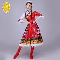 女装藏族舞蹈服装演出服少数民族服装舞台装藏族水袖表演服饰 红色