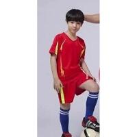 儿童足球服套装短袖男童比赛足球衣服定制小学生足球训练班队服 红色 324 短袖红色