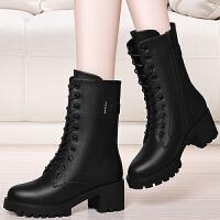 复古马丁靴女英伦风学生韩版百搭2017新款靴子女鞋冬季短靴女粗跟