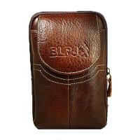 手机包牛皮腰包男穿皮带竖款4.7寸5.5寸多功能零钱包挂扣皮套 棕色半圆盖