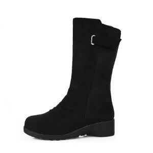 ELEISE美国艾蕾莎新品秋冬190-616韩版磨砂绒面平跟女士短靴