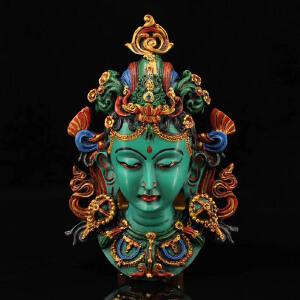 尼泊尔纯手工彩绘描金漆器绿度母面具头像    可挂墙